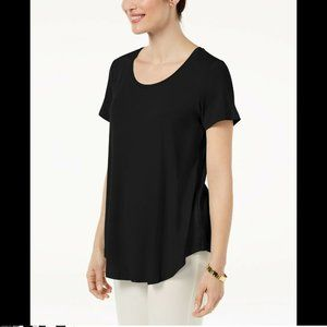 Jm Collection Women's Scoop-Neck Top, Black, XXL